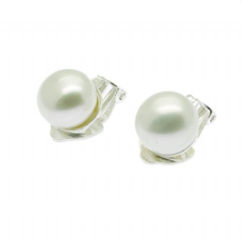 White Clip On Pearl Earrings 9mm Pearls Sterling Silver